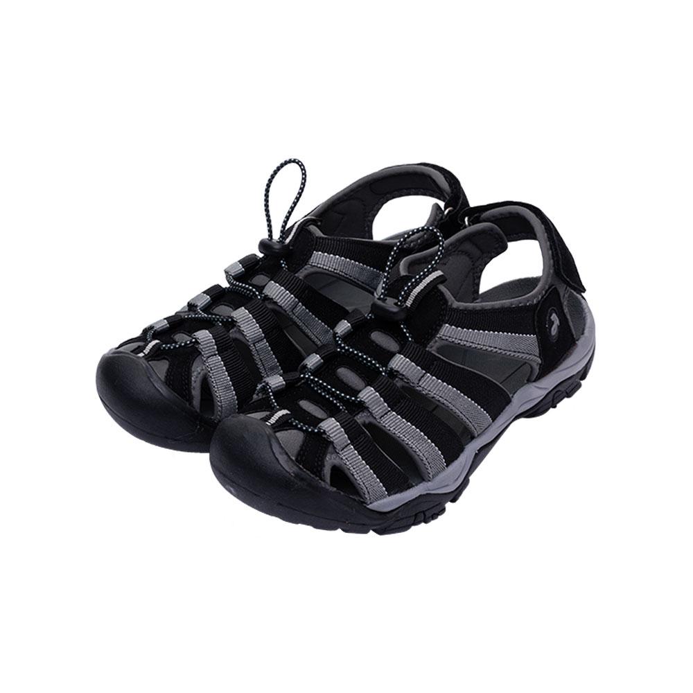 ARRIBA艾樂跑男鞋-魔鬼氈護趾運動涼鞋-黑/咖啡(62477)