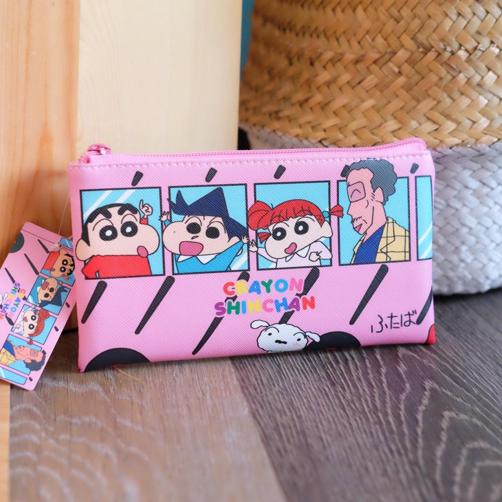 《蠟筆小新》日本商品 雙葉幼稚園校車 皮質化妝包 筆袋 收納包