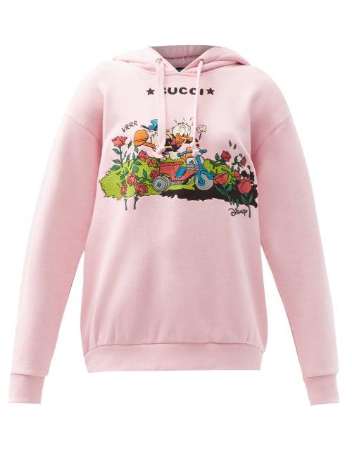 Gucci - X Disney Donald Duck Cotton-jersey Sweatshirt - Womens - Light Pink