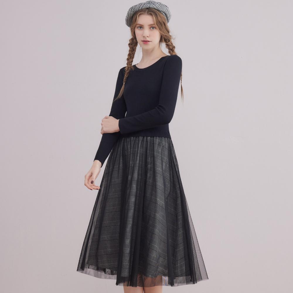 niceioi氣質假兩件格紋網布洋裝