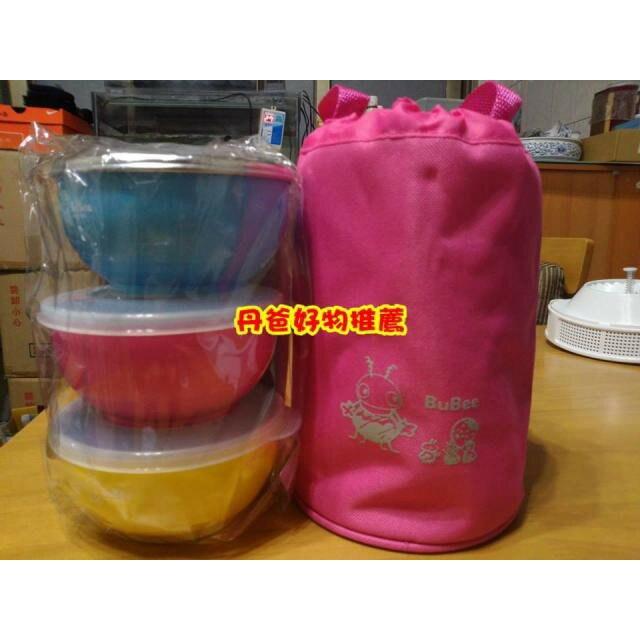 【三光】 香醇碗(白鐵蓋*1+PE蓋*2+三色碗+提袋)(附湯匙*3)