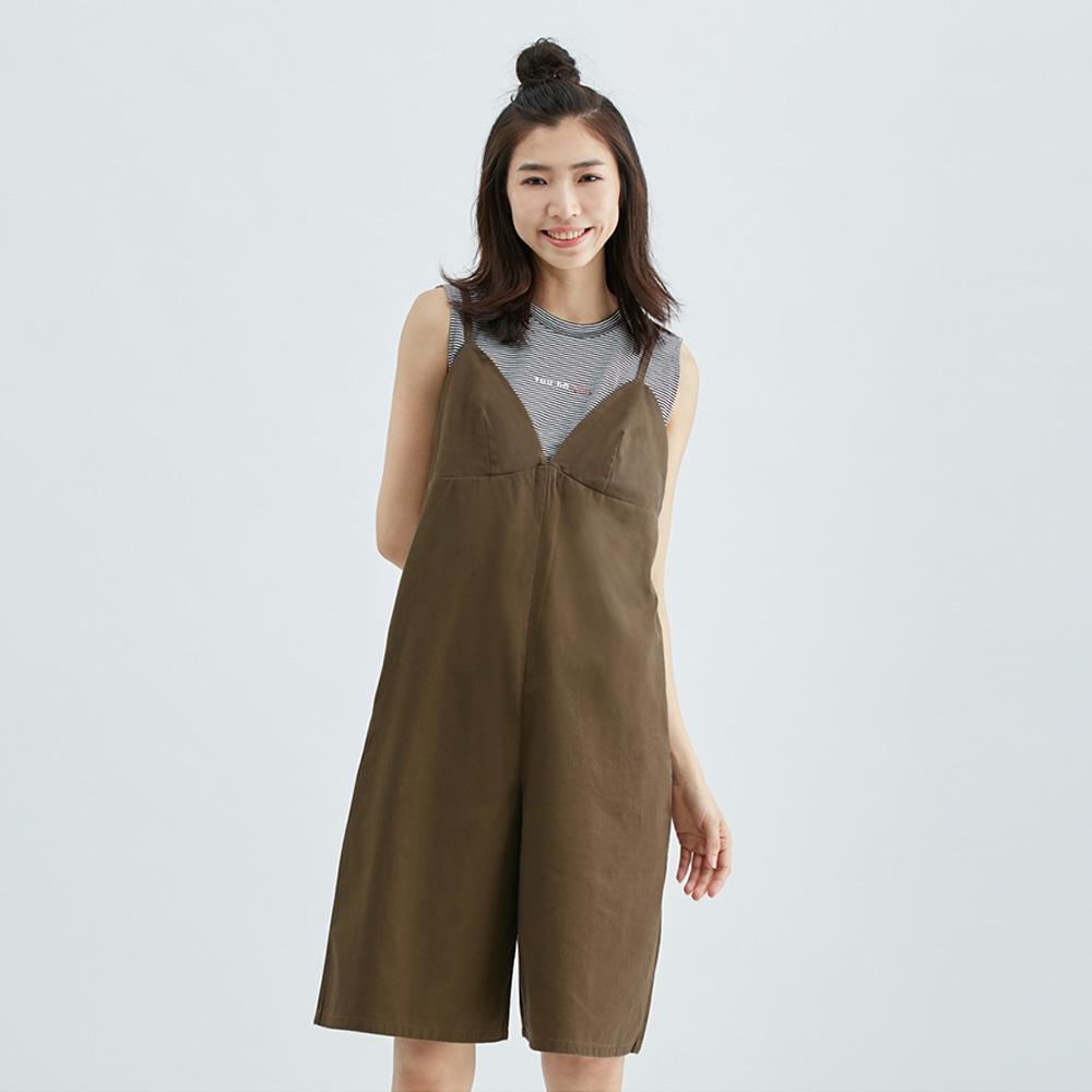 日系後綁帶吊帶褲裙(咖啡)-女