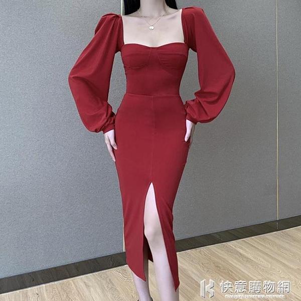 法式泡泡袖洋裝氣質復古方領中長裙修身顯瘦性感低胸開叉裙收腰 快意購物網