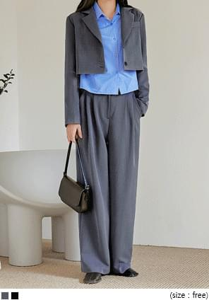 韓國空運 - 壓褶後鬆緊寬管西裝褲 長褲