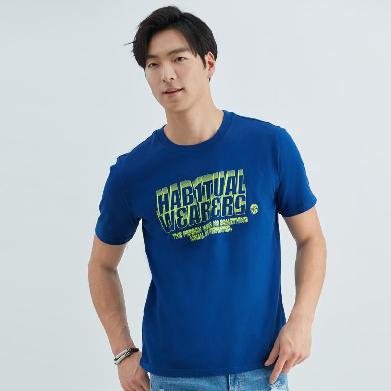 螢光色彩印花男純棉T恤(藍色)-男