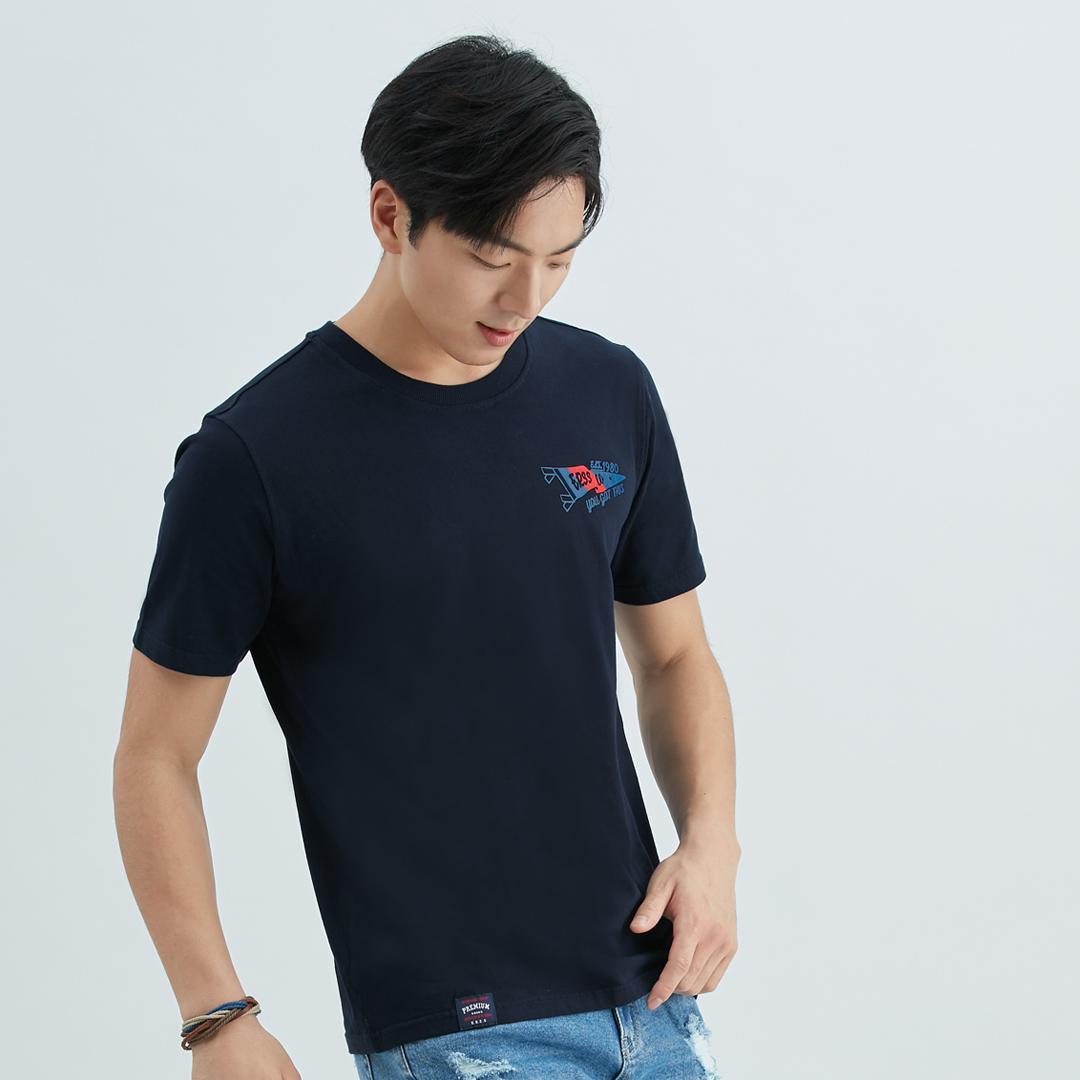 美式旗幟飄揚撞色舒棉T恤(黑藍)-男