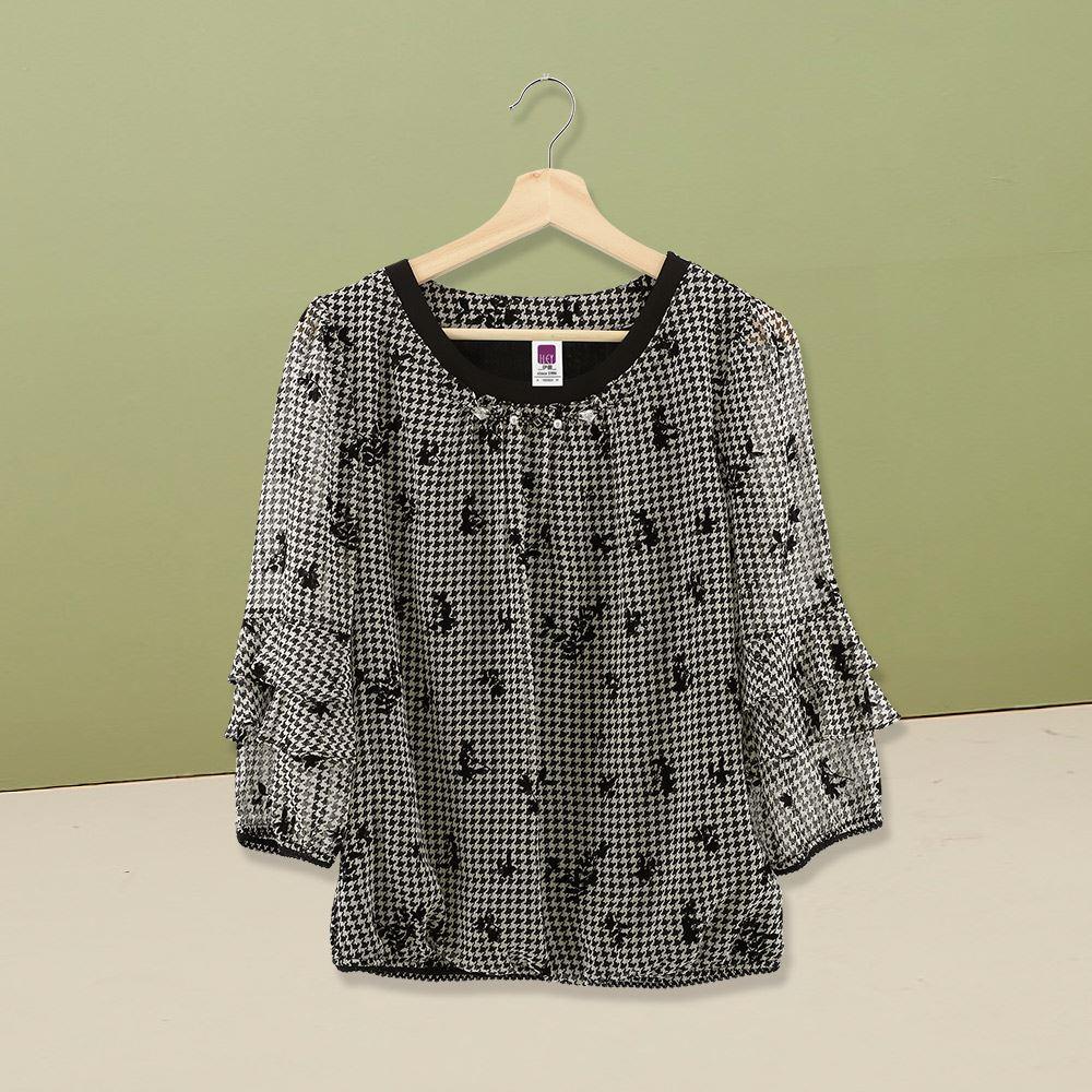 ILEY伊蕾 經典植絨花朵千鳥紋上衣(黑)978111