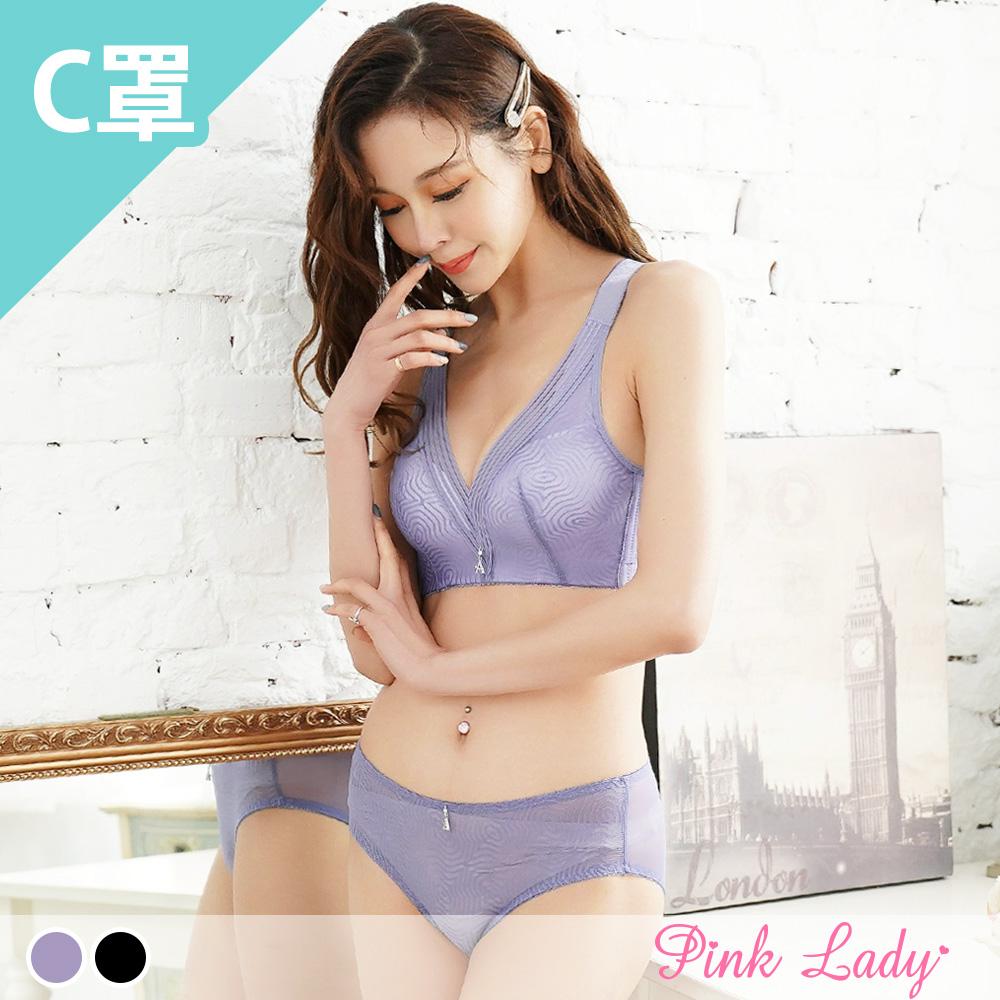 【C罩杯】無鋼圈薄襯內衣 迷霧森林  成套內衣9158(紫、黑)-Pink Lady
