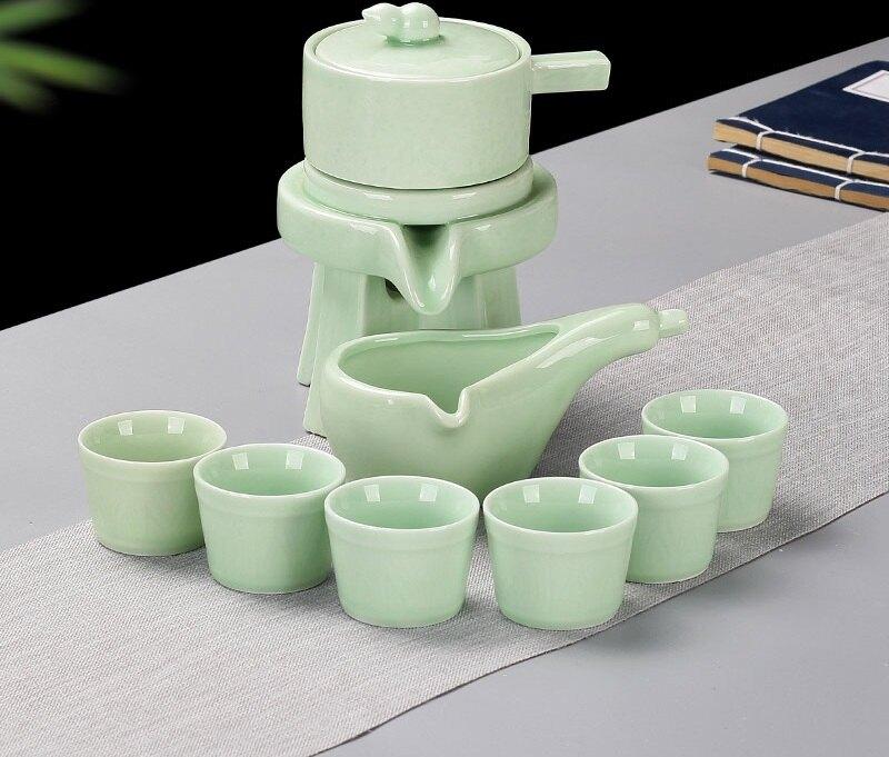 茶具套裝 功夫茶具套裝陶瓷家用懶人時來運轉石磨半全自動泡茶壺茶杯簡約
