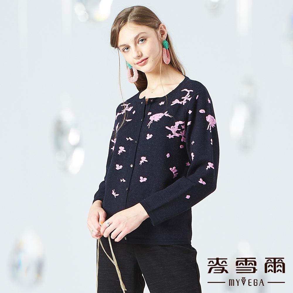 【麥雪爾】羊毛花朵緹花針織外套