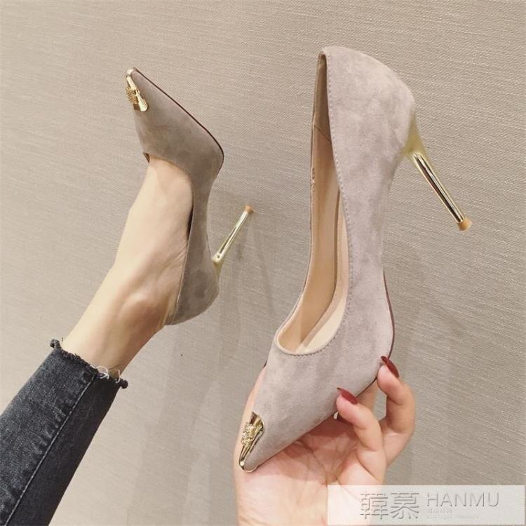 高跟鞋春季新款時尚百搭法式少女淺口尖頭細跟性感黑色單