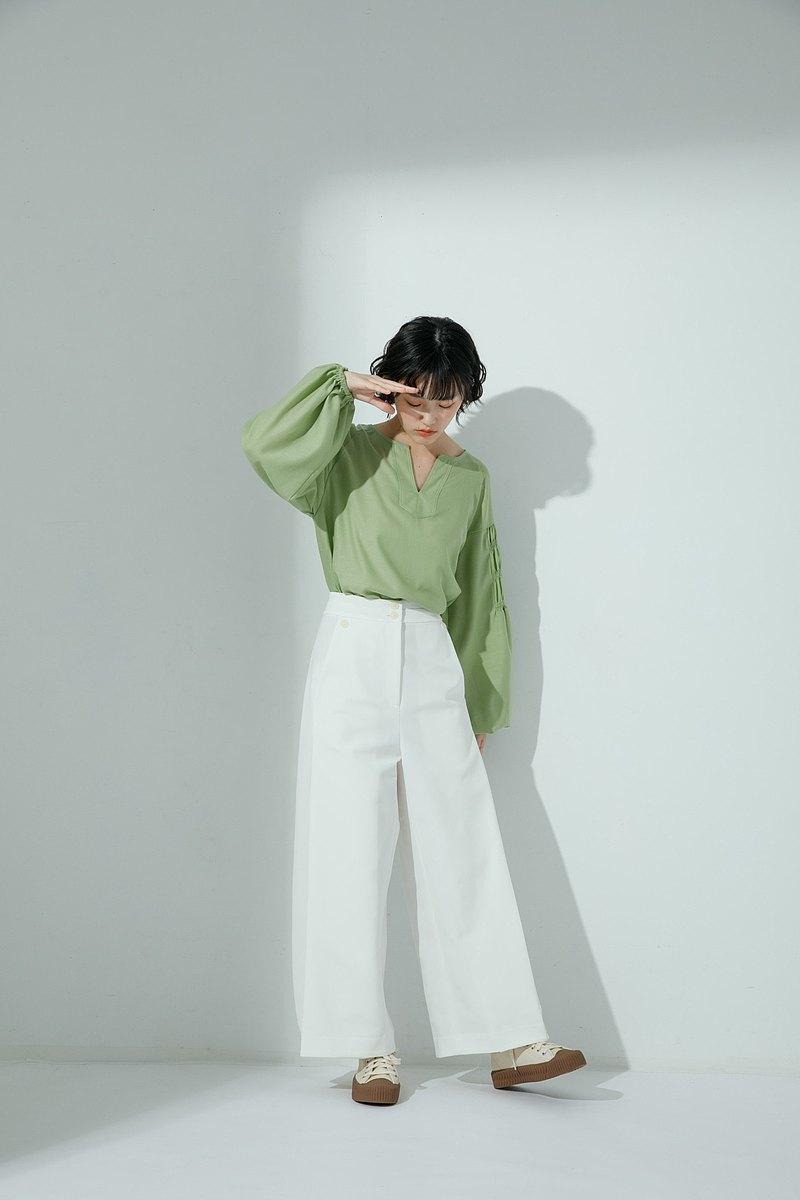 小說家寬管摺邊褲-森森(綠) / 雅白(白