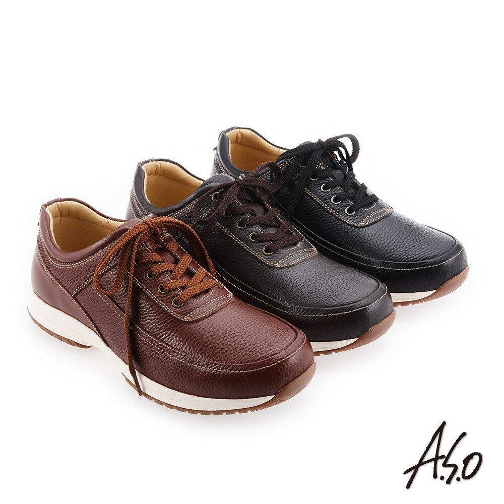【A.S.O阿瘦】3D超動能 精緻做工簡約休閒鞋-茶/咖啡/黑