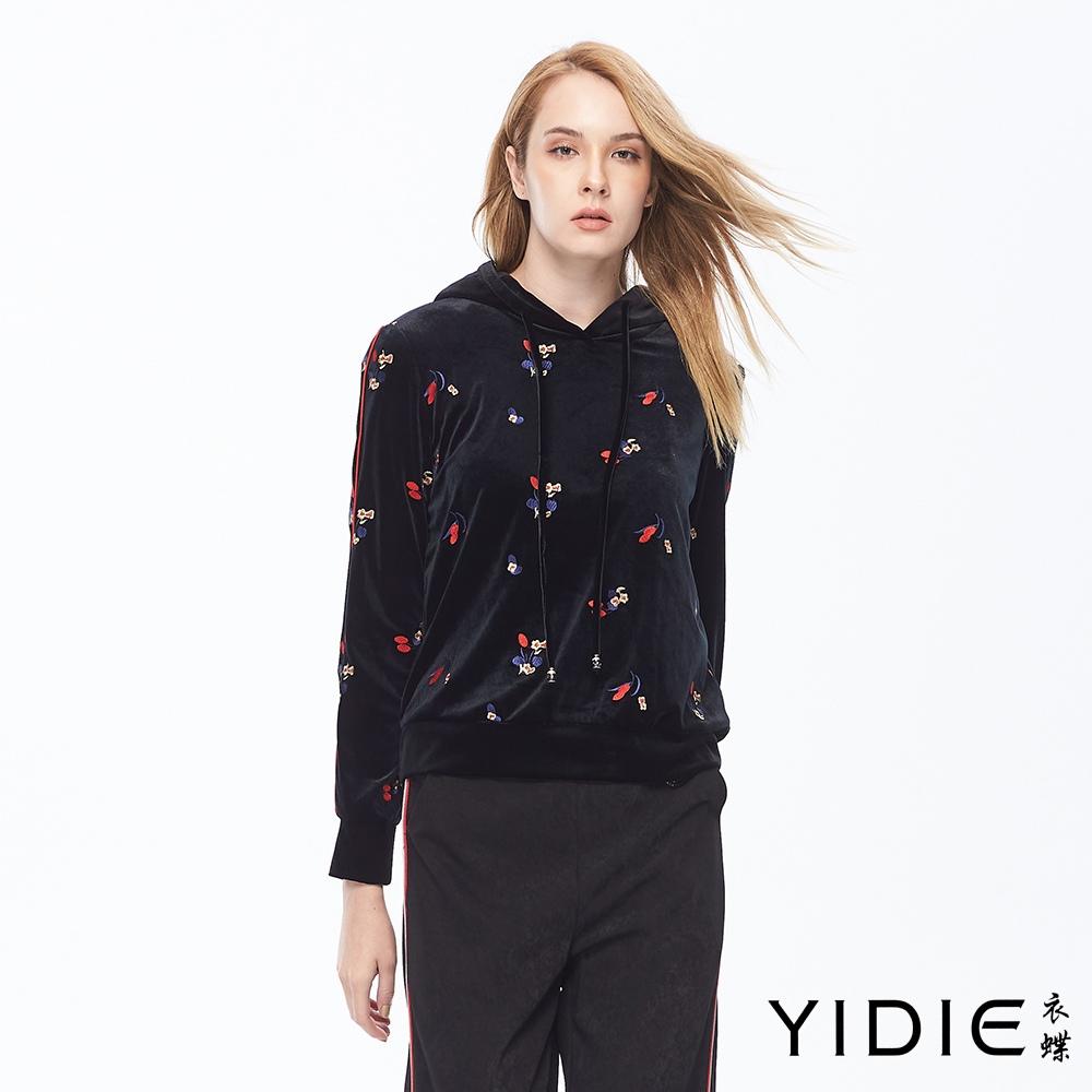 【YIDIE衣蝶】花卉刺繡絨布連帽上衣-黑