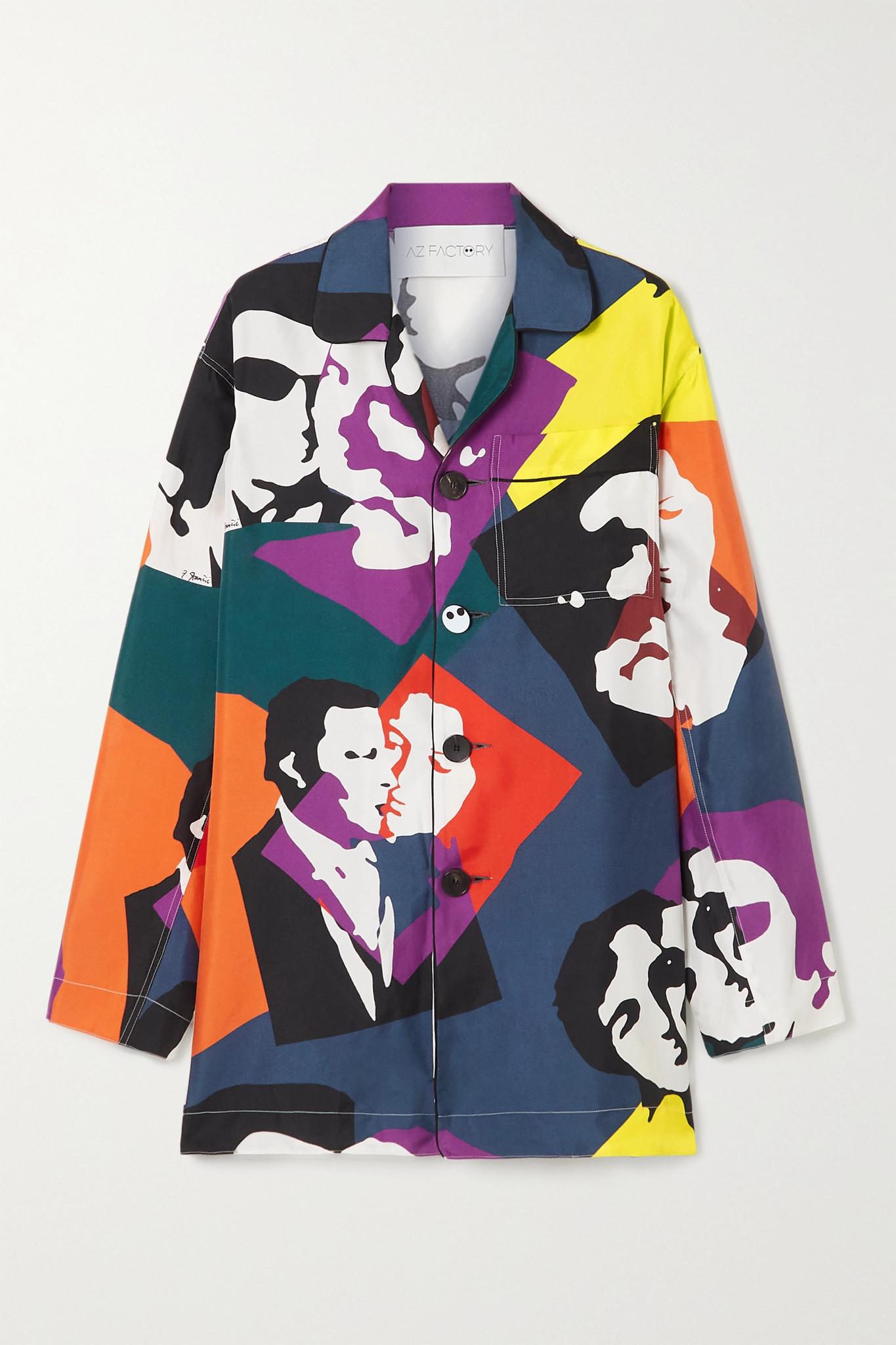 AZ FACTORY - Pijama The Kiss Printed Silk-twill Shirt - Black - FR32