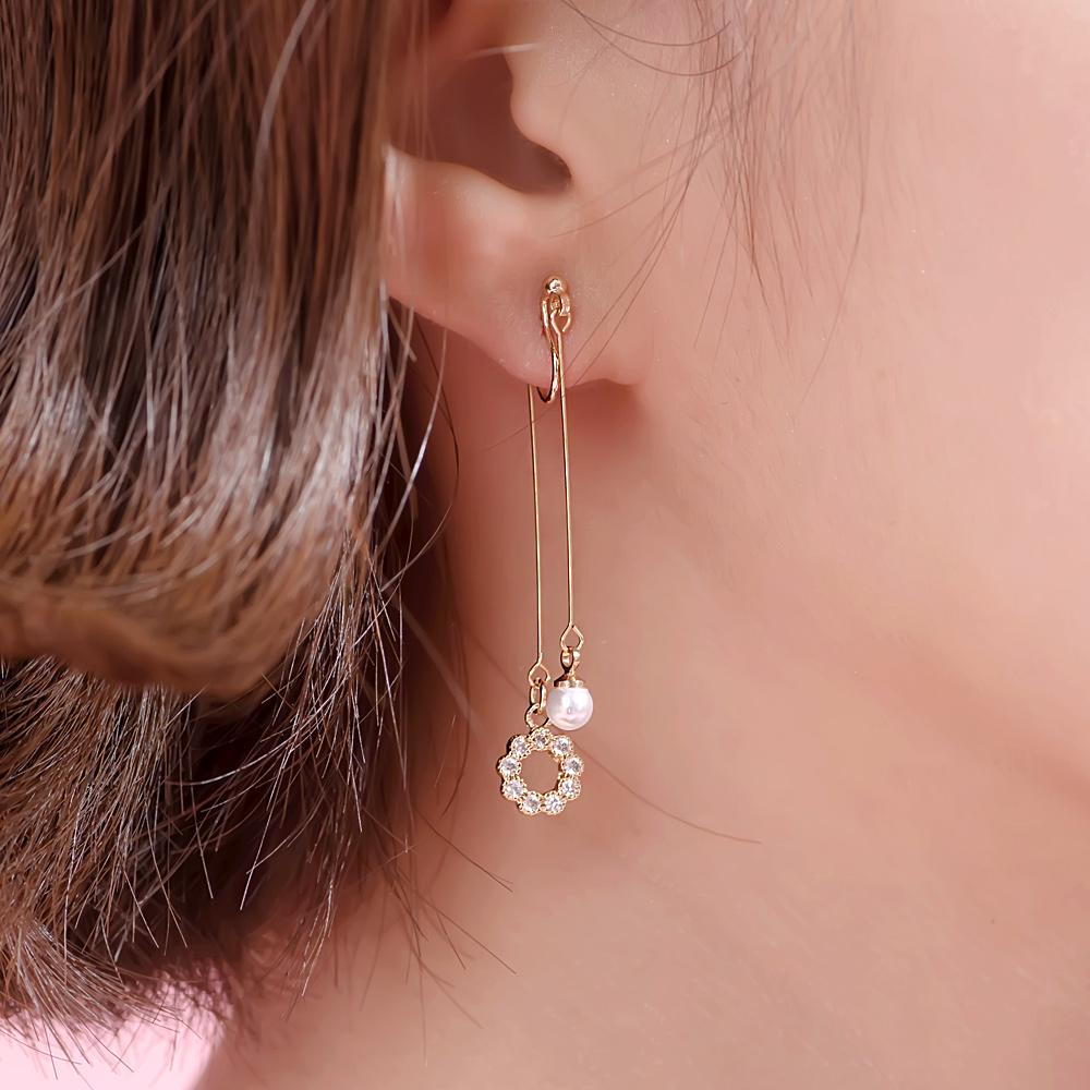 閃亮甜甜圈綴珍珠後掛耳夾-B50003