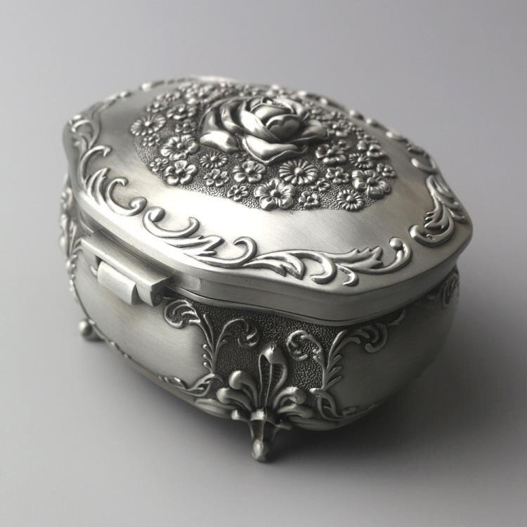 浪漫浮雕玫瑰花音樂盒金屬八音盒創意生日禮物送女孩女生圣誕情人