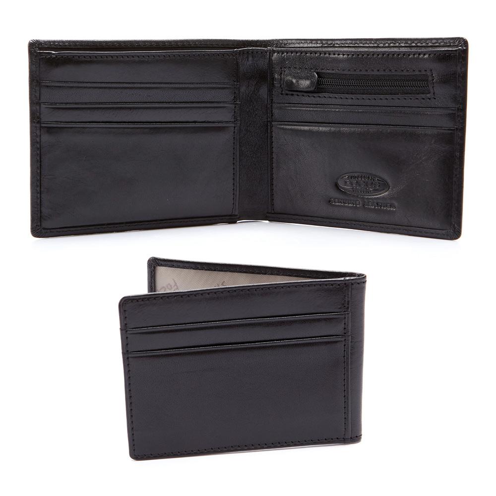FOCUS原皮時尚黑9卡雙拉鏈男短夾|附活動式卡夾|( FGB2203)