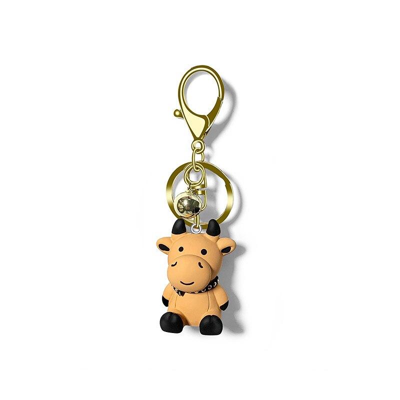 包包掛件 小奶牛汽車鑰匙掛件可愛卡通包包掛飾車鎖鑰匙圈鍊情侶鑰匙扣禮物【MJ10004】