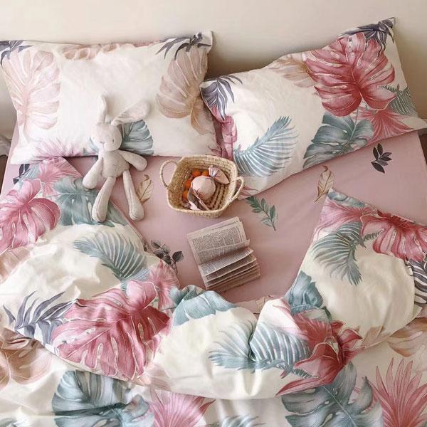 床包被套組(鋪棉兩用被套)-雙人加大/200織/ 精梳棉四件式 / 晴光暖風 台灣製