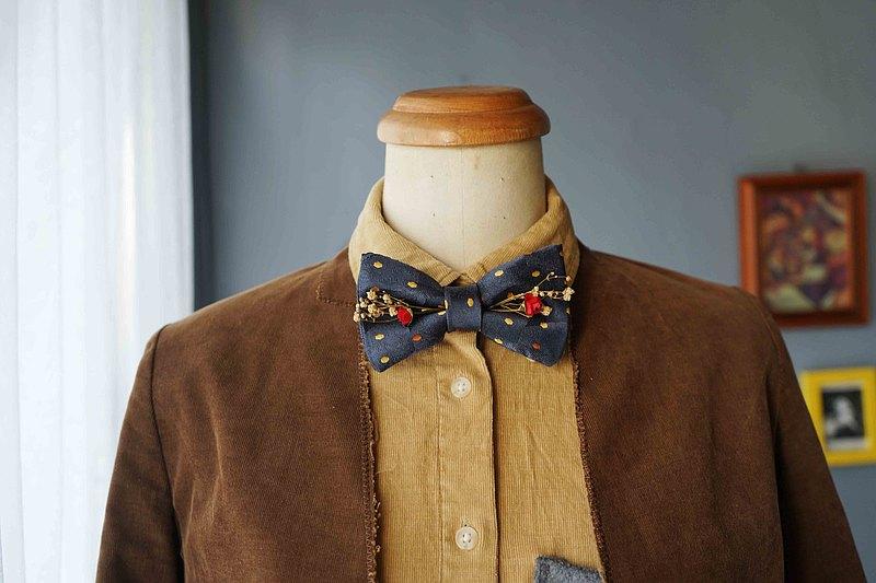 古董布花領帶改製手工領結-聽海哭的聲音-深藍-紅玫瑰版