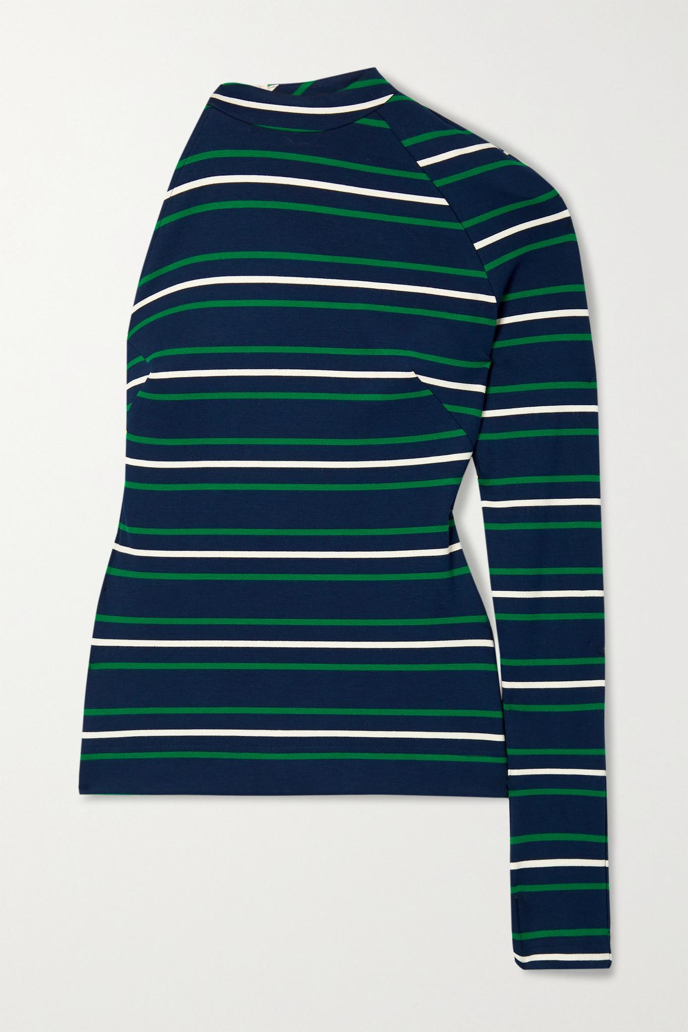 MONSE - One-sleeve Open-back Striped Stretch-jersey Halterneck Top - Blue - small