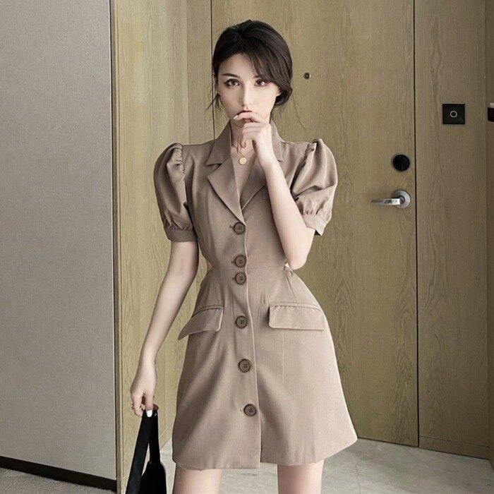 西裝裙 桔梗洋裝法式 女裝夏季正韓氣質性感露背西裝裙子【顧家家】