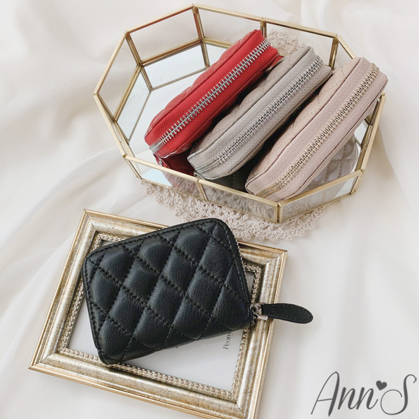 Ann'S小香風-小羊皮菱格車線風琴式11卡夾零錢包-4色
