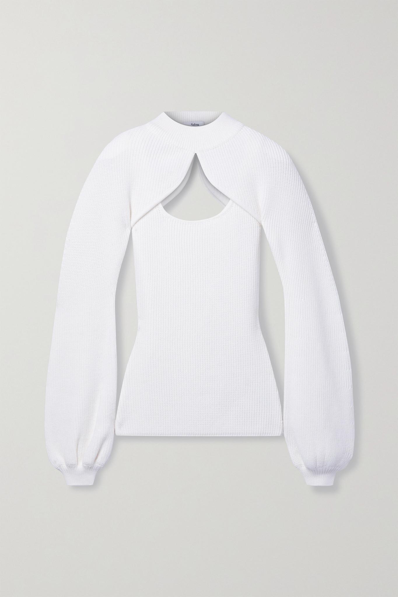 SAFIYAA - Sabrine Ribbed Merino Wool Sweater And Tank Set - Ivory - small