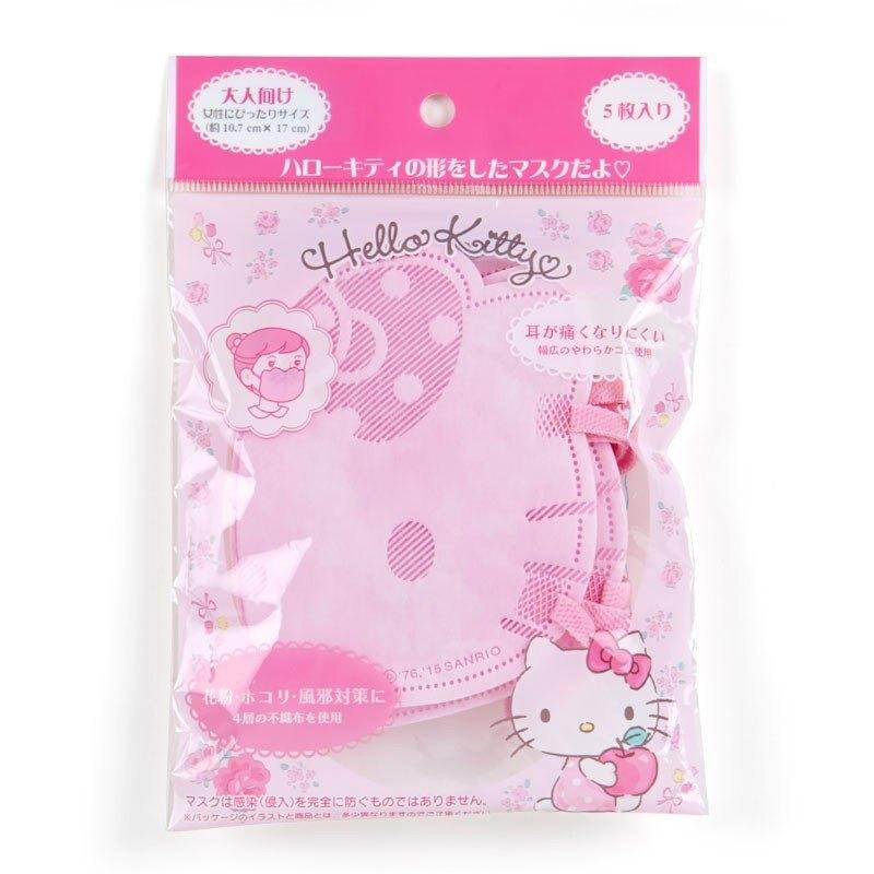 小禮堂 Hello Kitty 成人造型不織布口罩組 立體口罩 拋棄式口罩 成人口罩 (5入 粉 大臉)