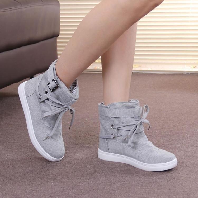 韓版女短靴高筒鞋帆布鞋圓頭系帶學生厚底休閒單鞋女  喜迎新春