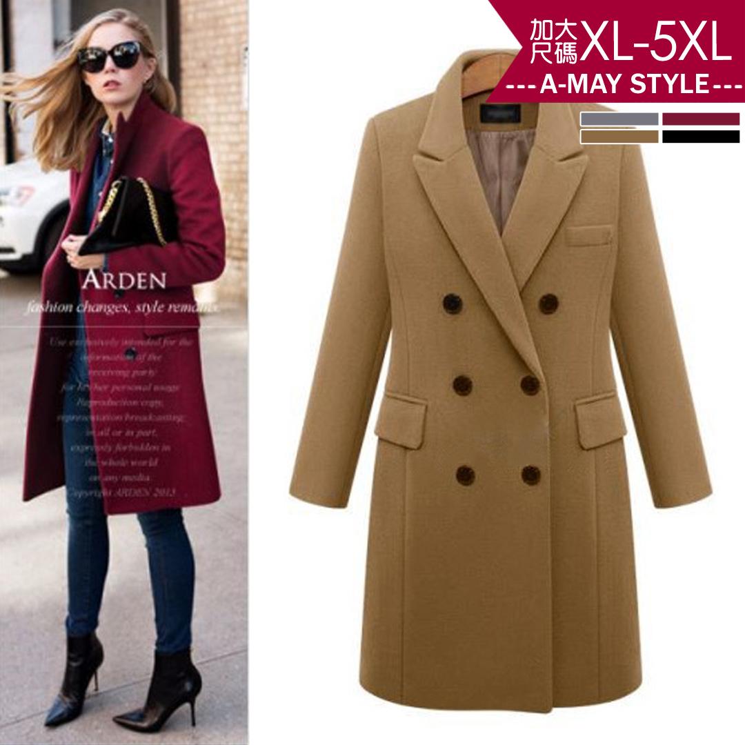 加大碼外套-歐美時尚中長版仿毛呢大衣(XL-5XL)【XT177679】*艾美時尚(現+預)