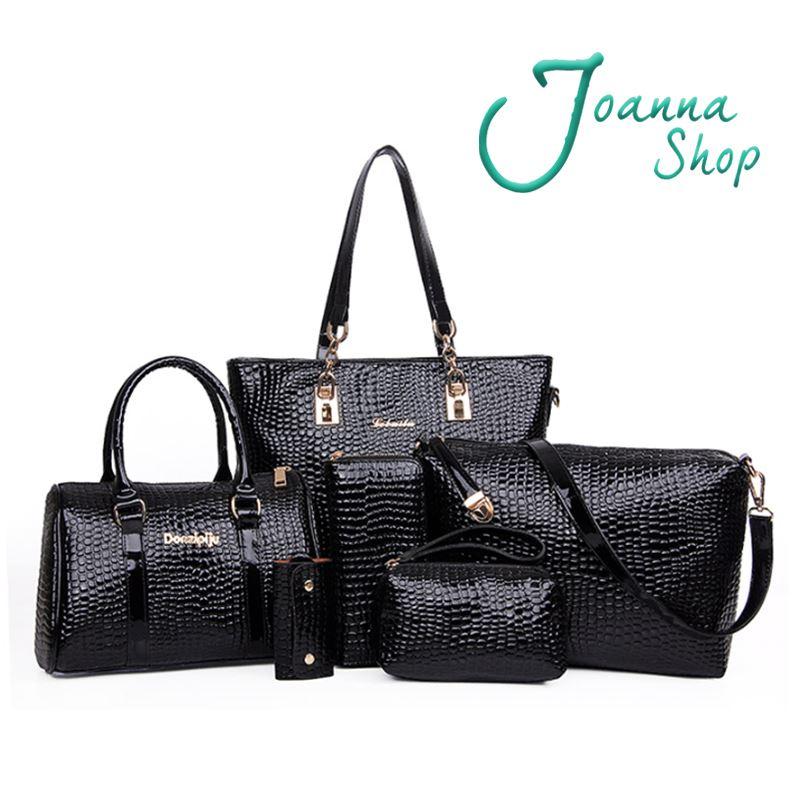 誘惑鱷魚紋子母包買一送五歐美時尚大容量手提斜肩長夾卡夾斜肩包1-Joanna Shop