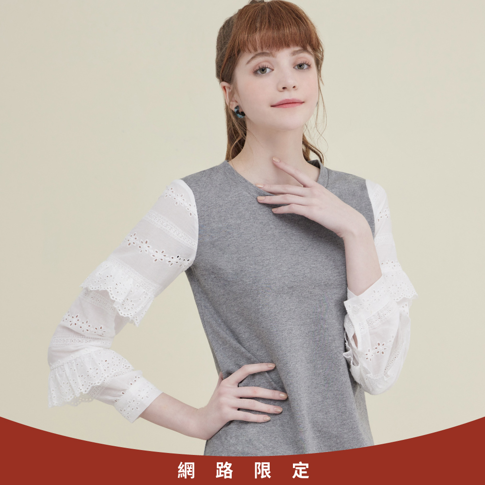 niceioi氣質蕾絲荷葉袖造型洋裝