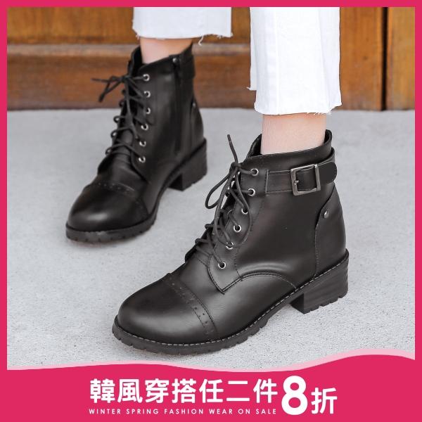 【限量現貨供應】靴子.訂製款.MIT韓版雕花綁帶扣環粗跟短靴.白鳥麗子 出清