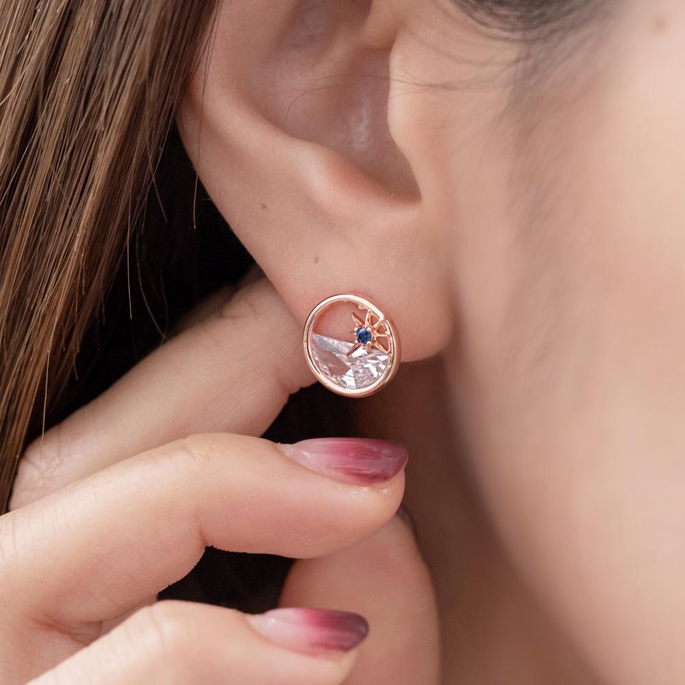 環之藍水光芒925銀針耳環(2色)-A10363