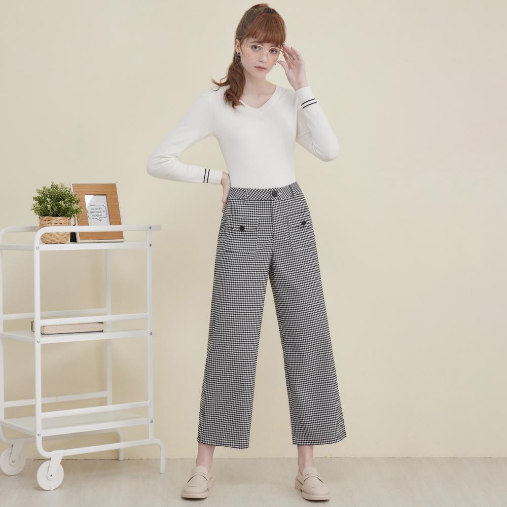 niceioi都會知性口袋格紋寬褲