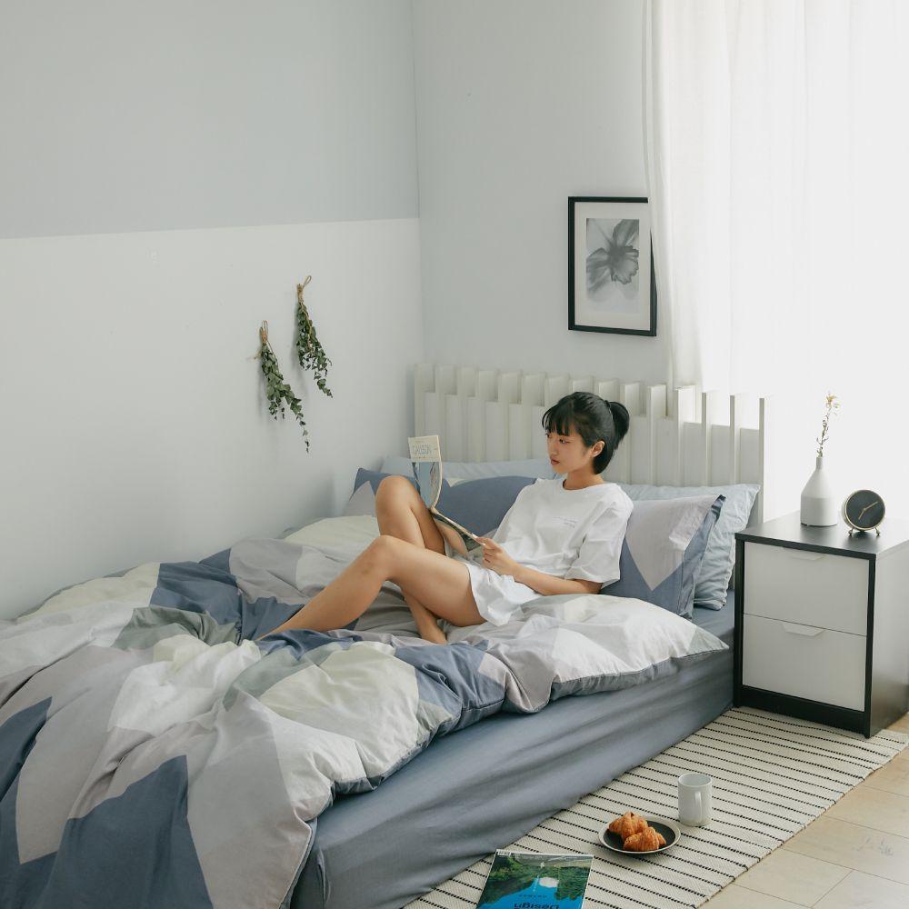 床包被套組(鋪棉兩用被套)-雙人 / 100% 精梳純棉 / 斯奎爾德
