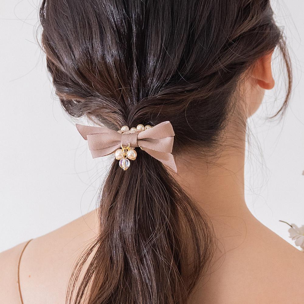 優雅復古珍珠蝶結髮圈(2色)-F10034