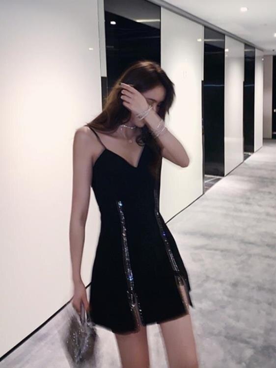 閃光吊帶小心機洋裝性感氣質收腰顯瘦短款禮服夜店蹦迪新款黑裙