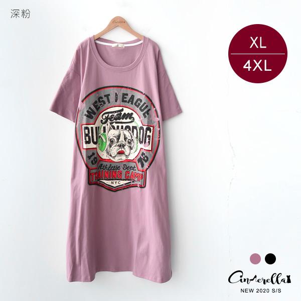 【ITS5858】0814美式膠印鬥牛犬插圖長版T-shirt洋裝 (預購)XL-4XL