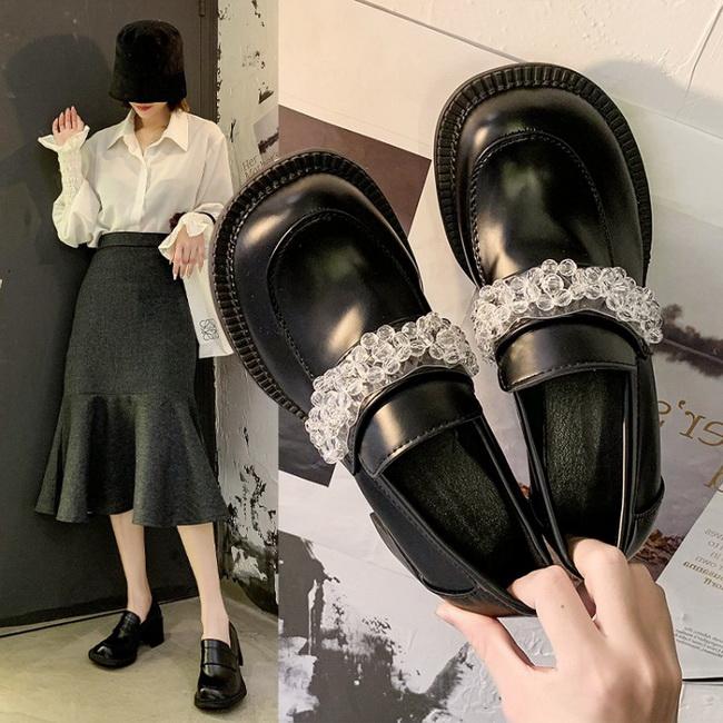 FOFU-甜美可愛花朵裝飾方跟低跟瑪麗珍鞋【02S13490】