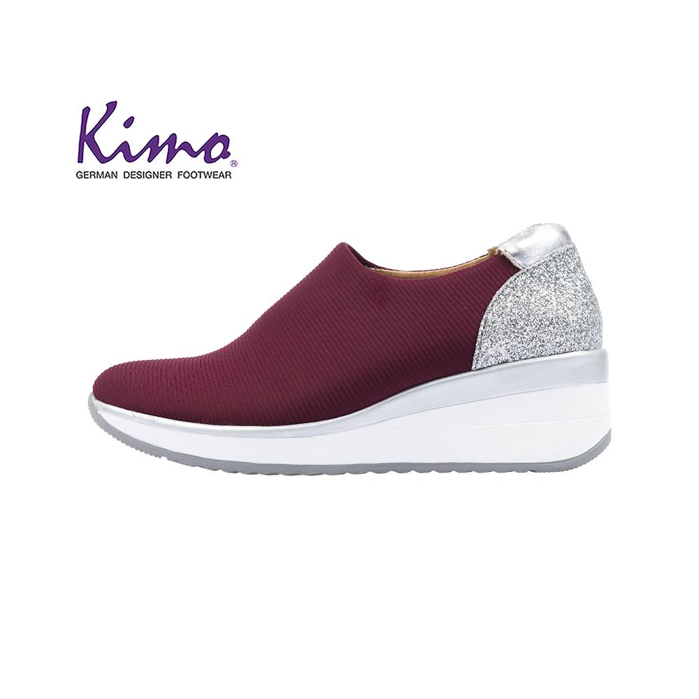 Kimo華麗鑽感彈性萊卡舒適墊高休閒鞋 女鞋(紅K18WF148017)