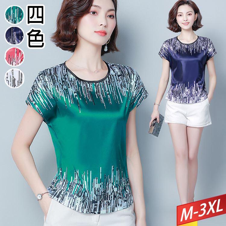 現貨出清 - 圓領上下線條緞面上衣(4色)M~3XL【621737W】-流行前線-