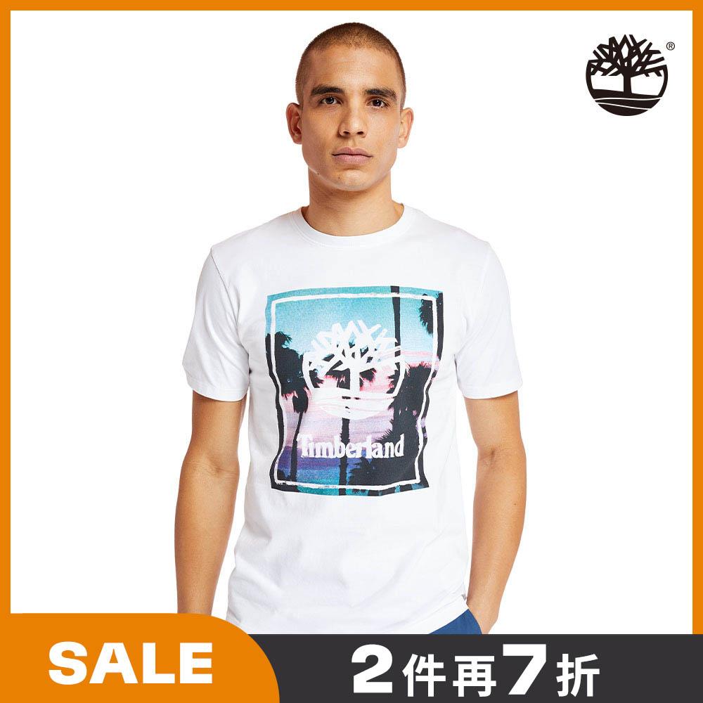 Timberland 男款白色海灘印花有機棉短袖圓頂T恤|A2B37100