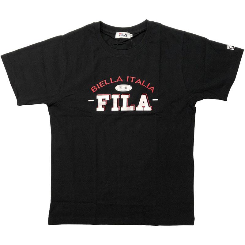 FILA - 日本限定 FH7694 BIELLA ITALIA 純棉 短T (黑色)