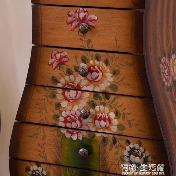 美式鄉村彩繪田園花瓶櫃地中海實木復古七斗櫃臥室收納儲物櫃子 閒庭美家