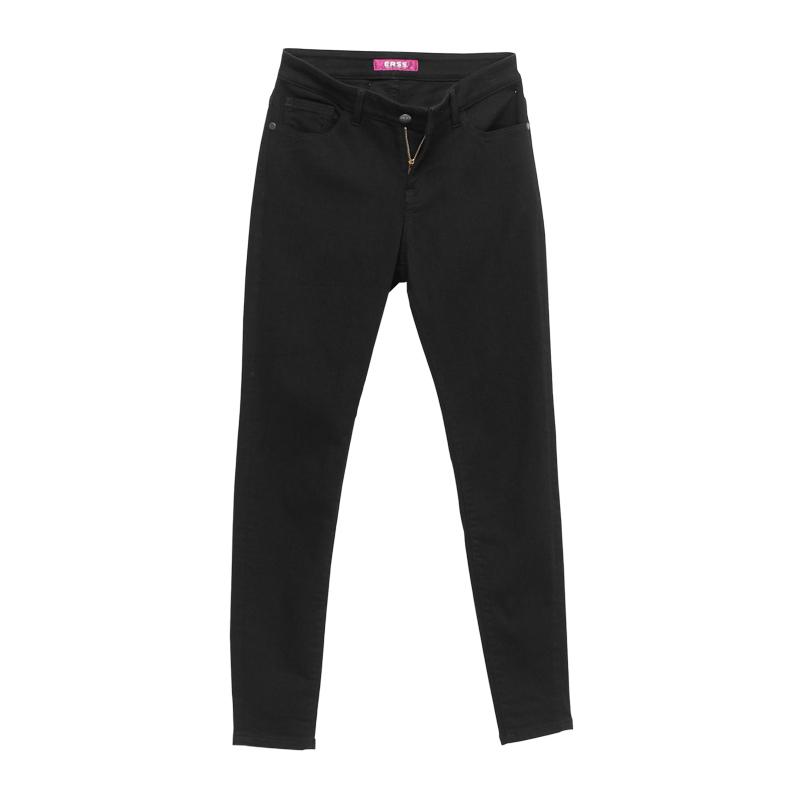 彈力修身窄直筒褲-女(短、中、長版) 黑色