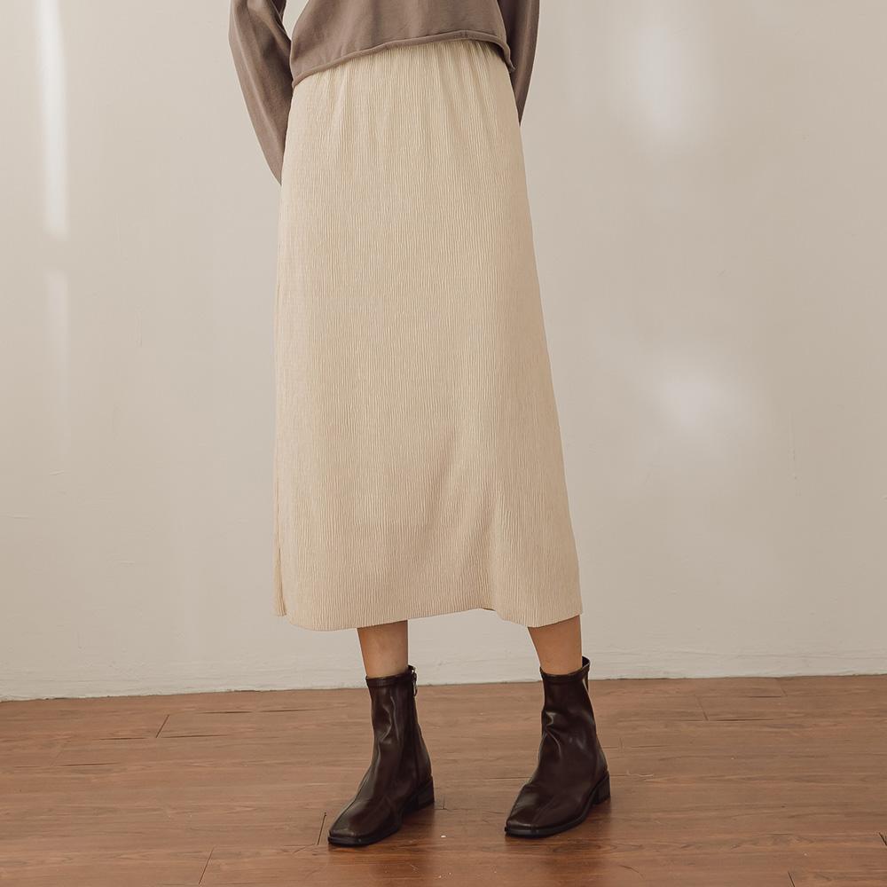 The Madre 後開衩微光澤燈芯絨鬆緊腰半身裙 【兩色】