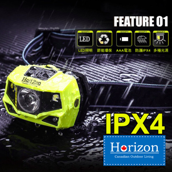 【Horizon 天際線】專業級LED多段式登山頭燈 (IPX4防水)